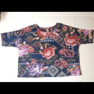River Island Floral Aztec Cotton Crop Top Size 8